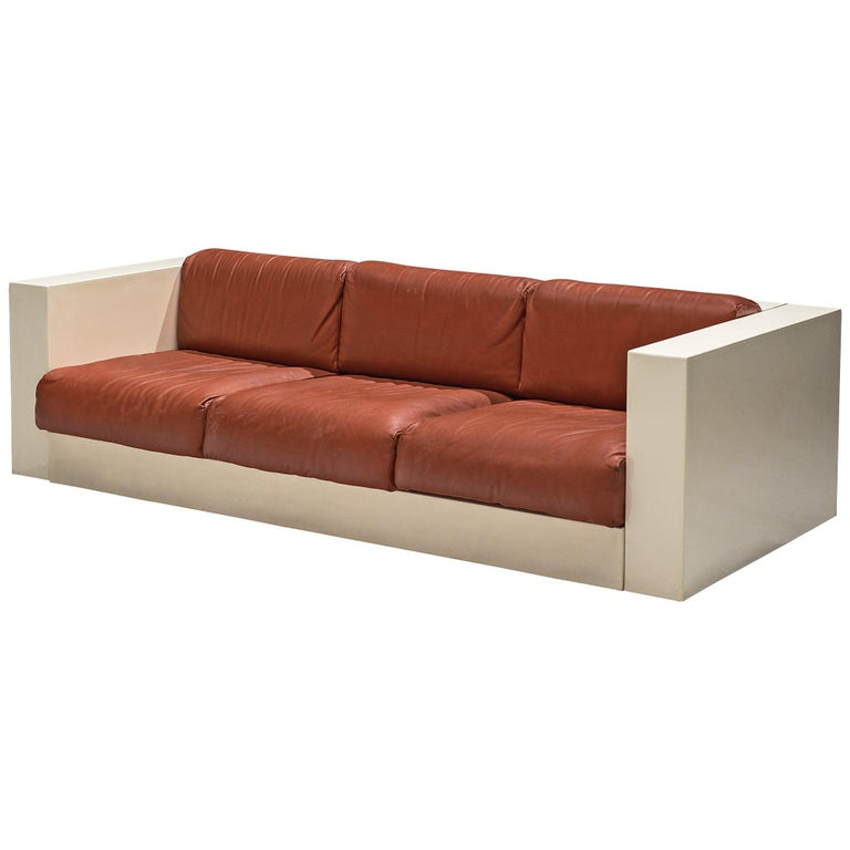 Vignelli 'Saratoga' Large White Sofa with Red Leather For Sale