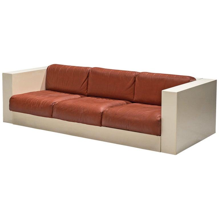 Vignelli 'Saratoga' Large White Sofa with Red Leather