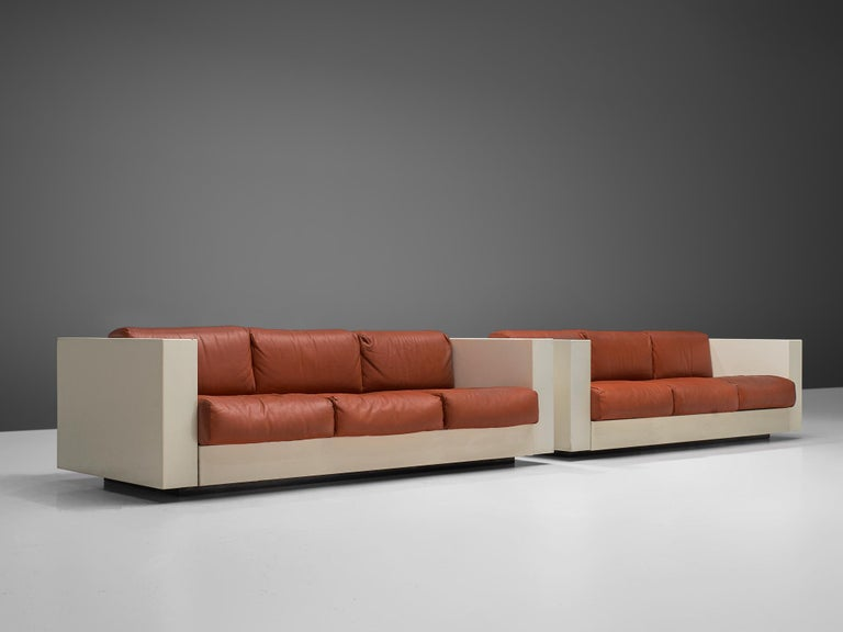 Italian Vignelli 'Saratoga' Pair of Large White Sofa with Red Leather