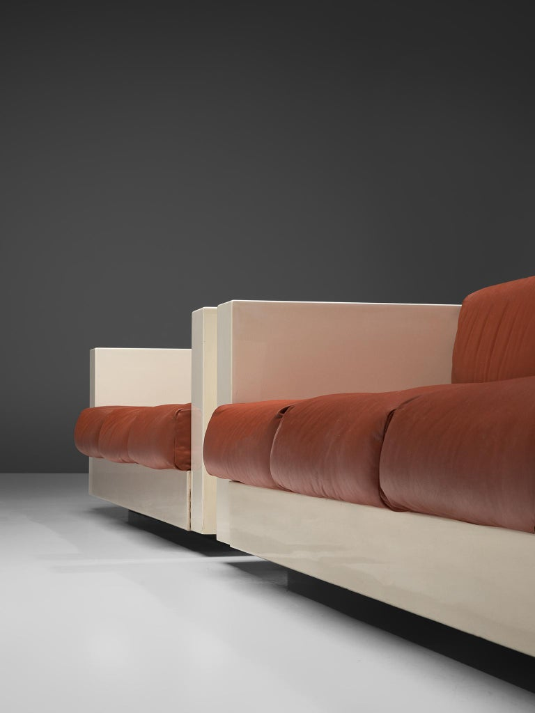 Mid-20th Century Vignelli 'Saratoga' Pair of Large White Sofa with Red Leather