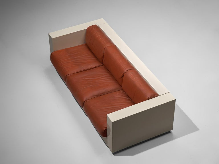 Vignelli 'Saratoga' Pair of Large White Sofa with Red Leather 3