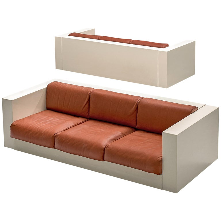 Vignelli 'Saratoga' Pair of Large White Sofa with Red Leather