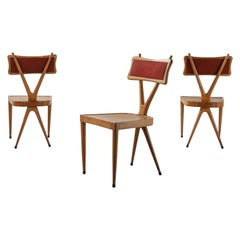 Vigorelli Gianni Set of 3 Wood and Original Fabric Chairs, 1950s