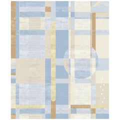 Composition IX - Blue Beige Contemporary Hand Knotted Wool Silk Rug