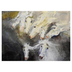 """VIII Horses Come"" Metaphysical Equestrian Oil Painting, Whites, off Whites"