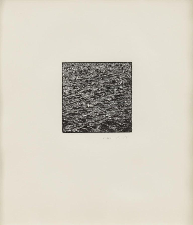 Vija Celmins Landscape Print - Untitled (Ocean Woodcut)