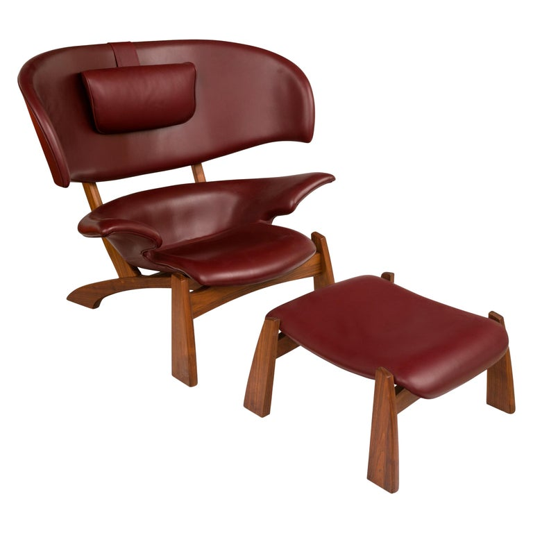 """""""Viking"""" Lounge Chair & Ottoman in Walnut & Bordeaux Aniline Leather, Denmark For Sale"""