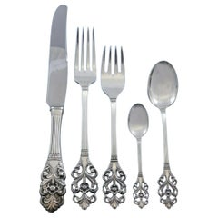 Viking Rose by Marthinsen Norway Sterling Silver Flatware Set Service 48 Pcs