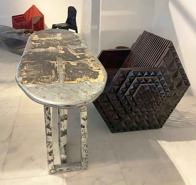 Viking Throne by John Brevard In Distressed Condition For Sale In Coral Gables, FL