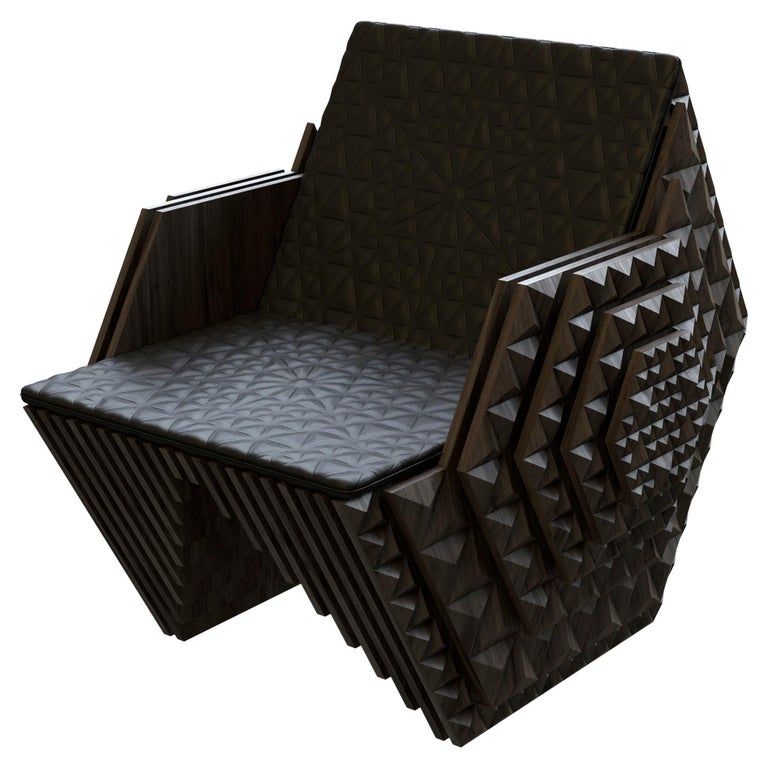 This Viking throne is a limited edition handmade art piece created from solid teak wood. This piece is created in a set of 20 and can be customized to fit your needs. The design was created using a parametric tool and inspired by fractal cosmic