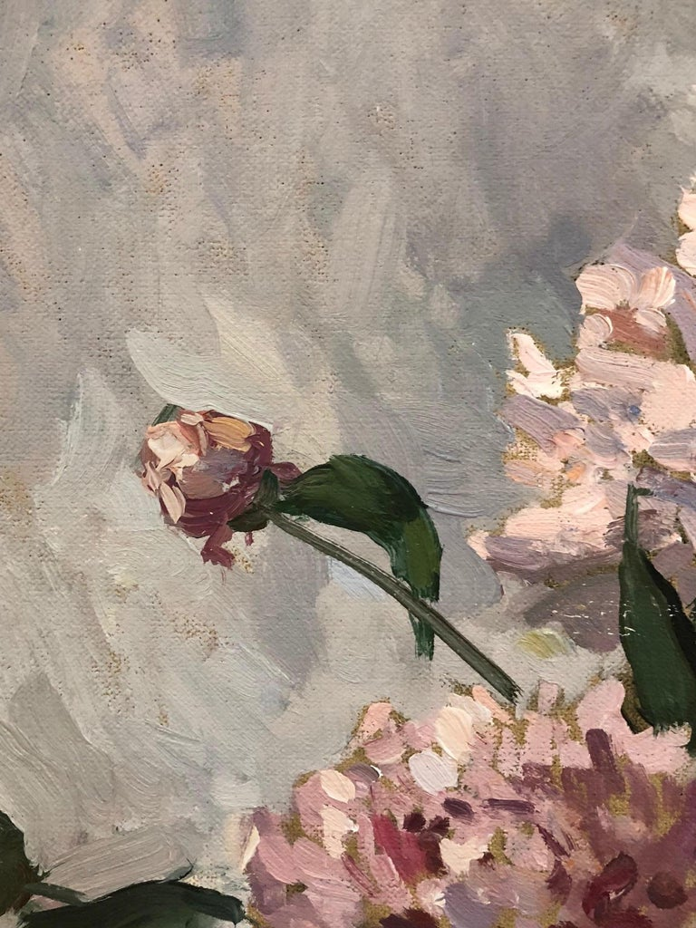 Pink Peonies - American Impressionist Painting by Viktor Butko