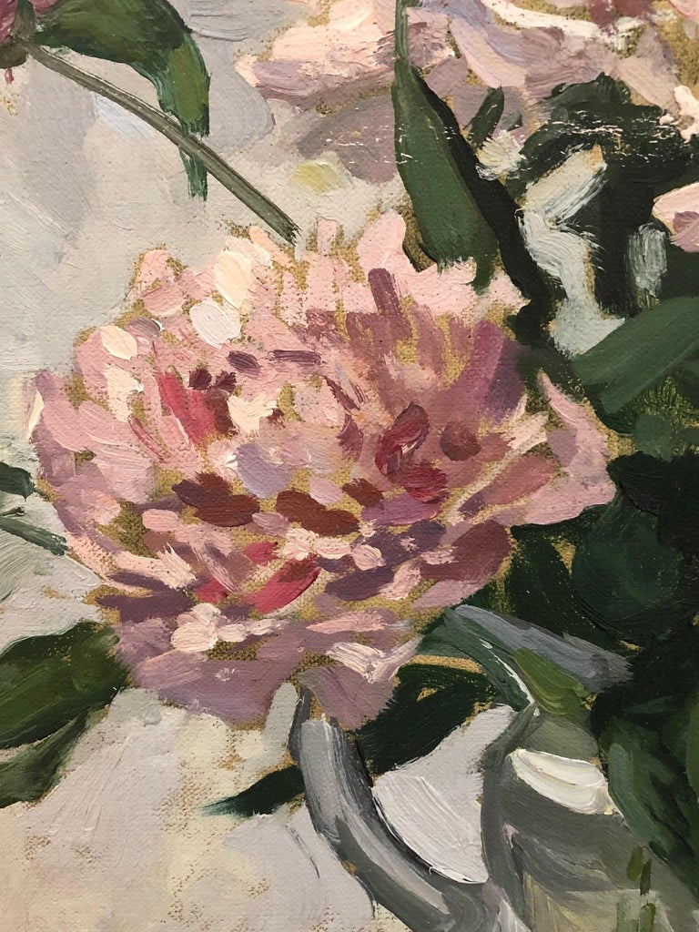 Pink Peonies - Brown Still-Life Painting by Viktor Butko