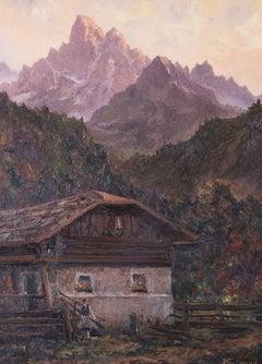 Viktor Gutmann (1887-1963) - Austrian Oil, Evening Sun on the Spitzkofel