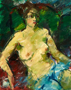Sitzender Akt mit Tuch (Sitting nude with cloth) - Painting, Nude, Oil, Canvas
