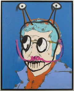 Self Portrait (Selfie) - graphic, pop-art, acrylic painting on canvas