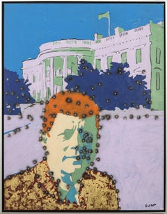 Whitehouse Kennedy - graphic pop-art, cultural America, gilded acrylic on canvas