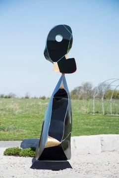 Black - tall, playful, glossy, post-pop, abstract, aluminum outdoor sculpture