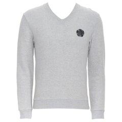 VIKTOR ROLF Monsieur grey cotton aged polo applique long sleeve sweater EU46