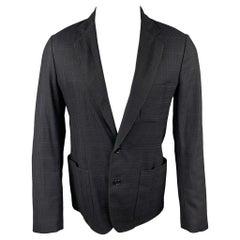 VIKTOR & ROLF Monsieur Size 38 Navy & Black Plaid Virgin Wool Sport Coat