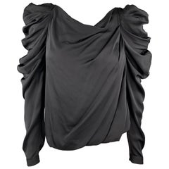 VIKTOR & ROLF Size 4 Black Draped Silk Ruffle Shoulder Blouse