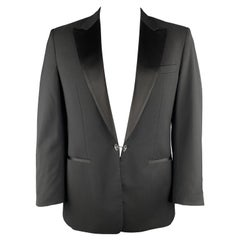 VIKTOR & ROLF Size 42 Black Wool Satin Peak Lapel Mirror Button Tuxedo Jacket