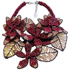 Vilaiwan by Joe Midnight Flower Necklace with Red-White Crystals Rare Piece