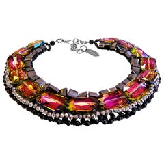 Vilaiwan Necklace with Rainbow Crystal, Hematite and Onyx, Rare Piece