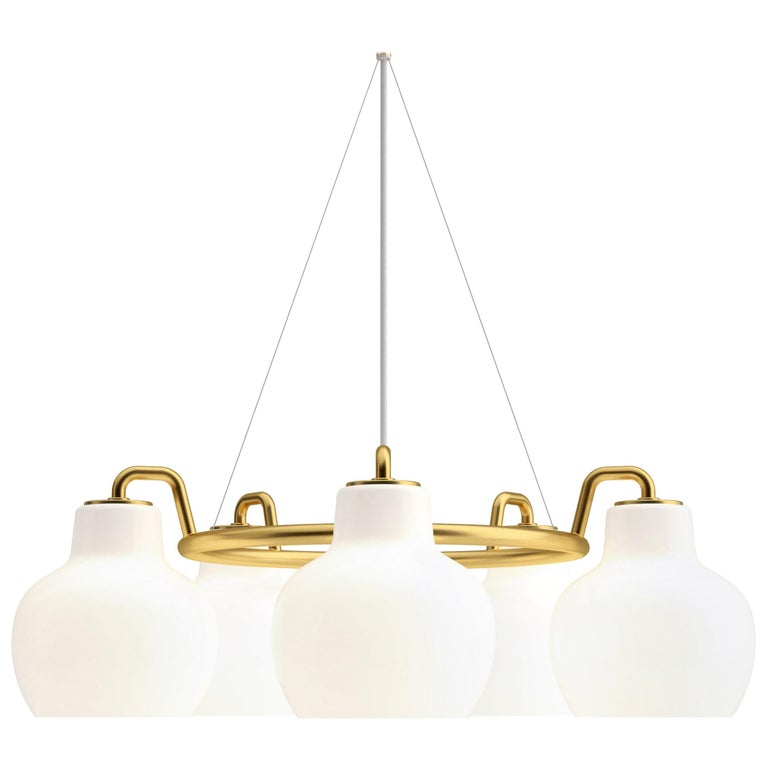Vilhelm Lauritzen 5-Shade Brass and Glass Ring Chandelier for Louis Poulsen For Sale