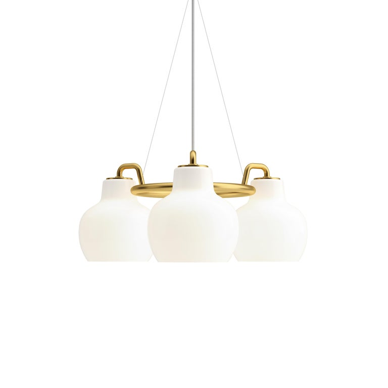 Contemporary Vilhelm Lauritzen 5-Shade Brass and Glass Ring Chandelier for Louis Poulsen For Sale