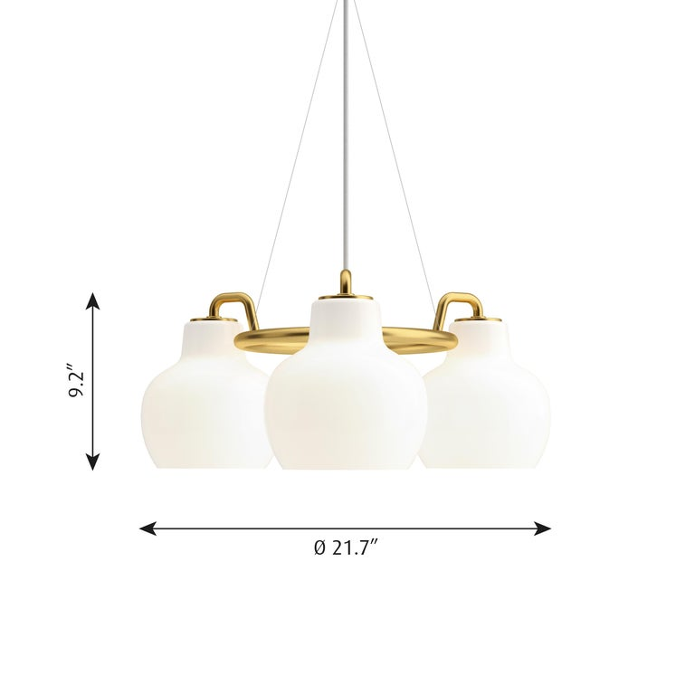 Opaline Glass Vilhelm Lauritzen 5-Shade Brass and Glass Ring Chandelier for Louis Poulsen For Sale