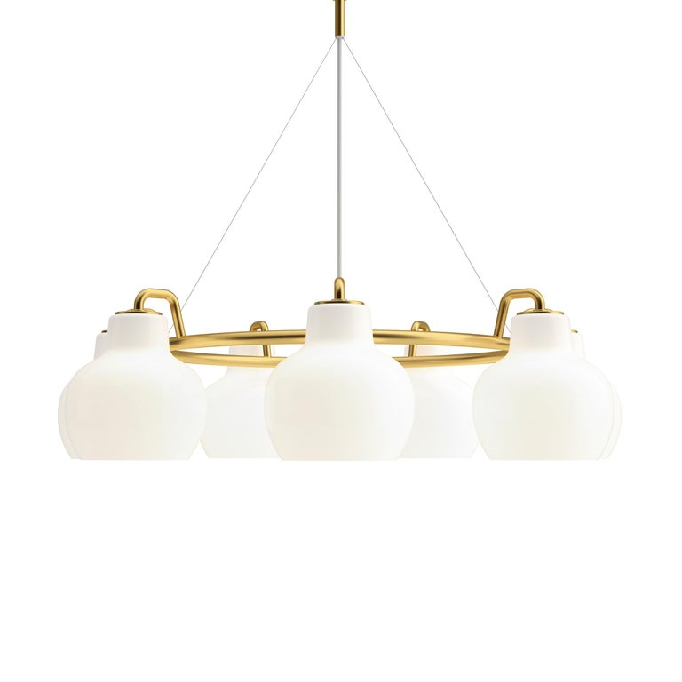 Vilhelm Lauritzen 5-Shade Brass and Glass Ring Chandelier for Louis Poulsen For Sale 1