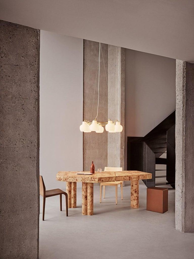 Scandinavian Modern Vilhelm Lauritzen 7-Shade Brass & Glass Ring Chandelier for Louis Poulsen For Sale
