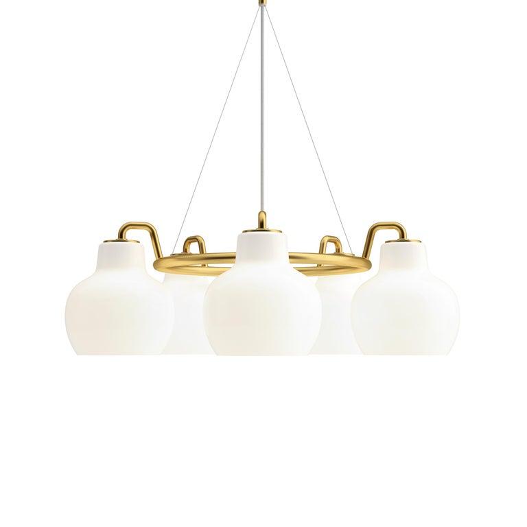 Contemporary Vilhelm Lauritzen 7-Shade Brass & Glass Ring Chandelier for Louis Poulsen For Sale