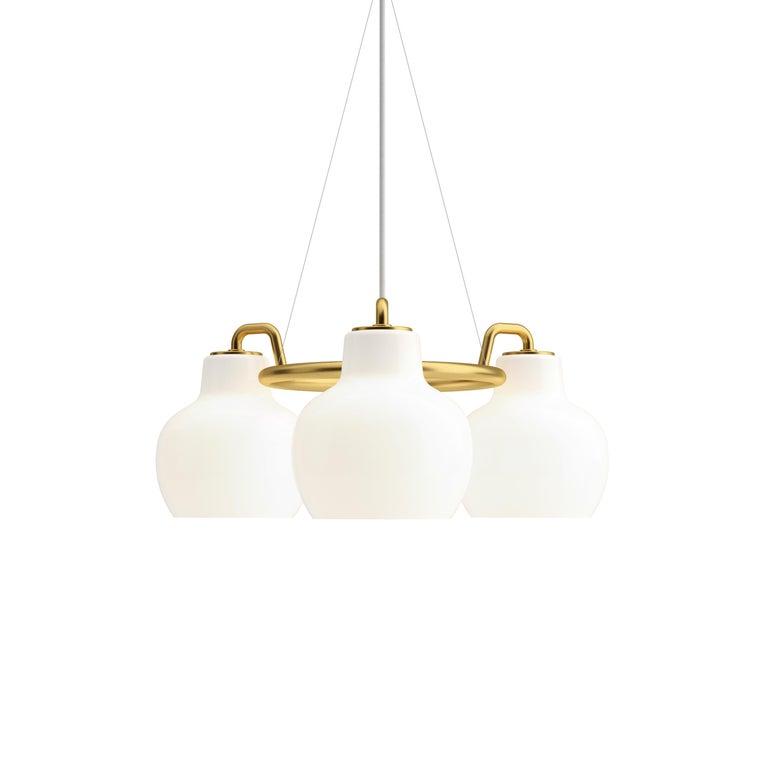 Vilhelm Lauritzen 7-Shade Brass & Glass Ring Chandelier for Louis Poulsen For Sale 1