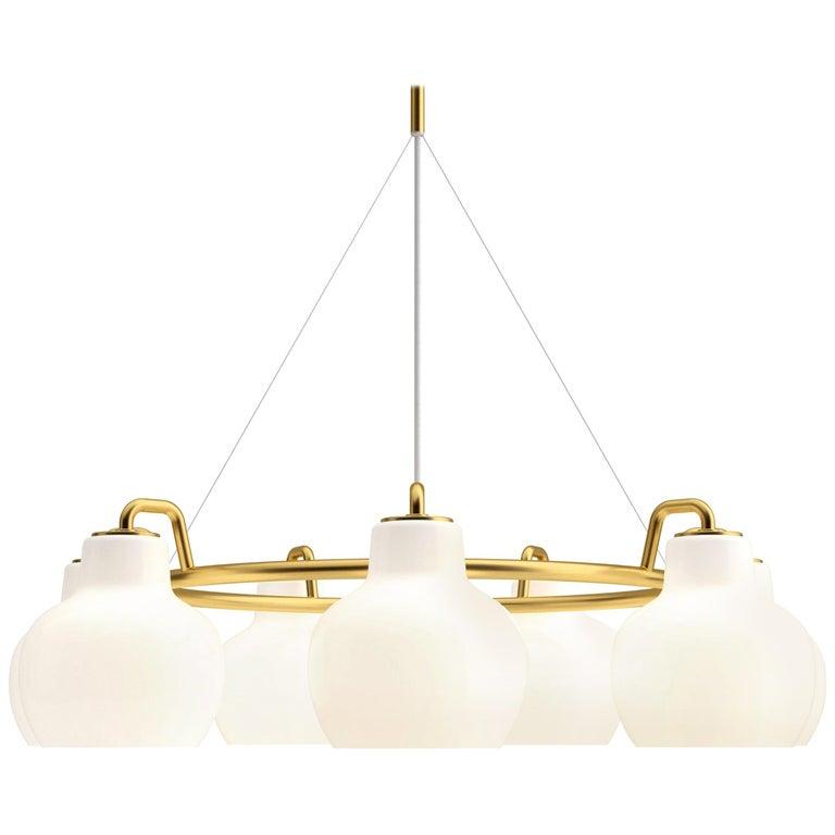 Vilhelm Lauritzen 7-Shade Brass & Glass Ring Chandelier for Louis Poulsen For Sale