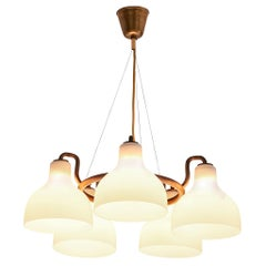 Vilhelm Lauritzen Chandelier in Brass and Opaline Glass