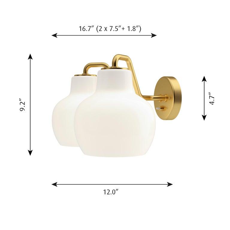 Vilhelm Lauritzen VL-1 Brass and Glass Wall Lamp for Louis Poulsen For Sale 2