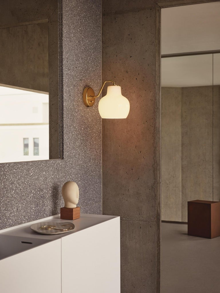 Polished Vilhelm Lauritzen VL-1 Brass and Glass Wall Lamp for Louis Poulsen For Sale