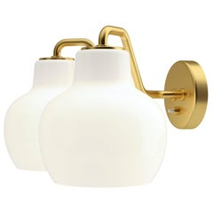 Vilhelm Lauritzen VL-2 Brass and Glass Wall Lamp for Louis Poulsen