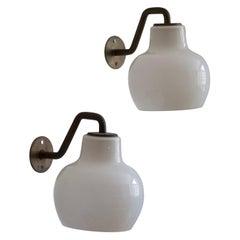 Vilhelm Lauritzen Wall Lights, Patinated Brass, Milk Glass, Louis Poulsen, 1940s