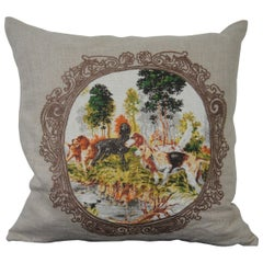 Villa Aubusson Style Embroidered Linen Down Throw Pillow Print Hunting Dogs