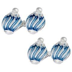 Villa Tasca Blue Enamel Silver Cufflinks