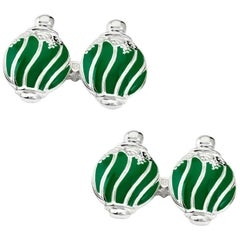 Villa Tasca Forest Green Enamel Gold Cufflinks