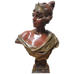 Villanis 'Lucrece' Bronze Art Nouveau Sculpture