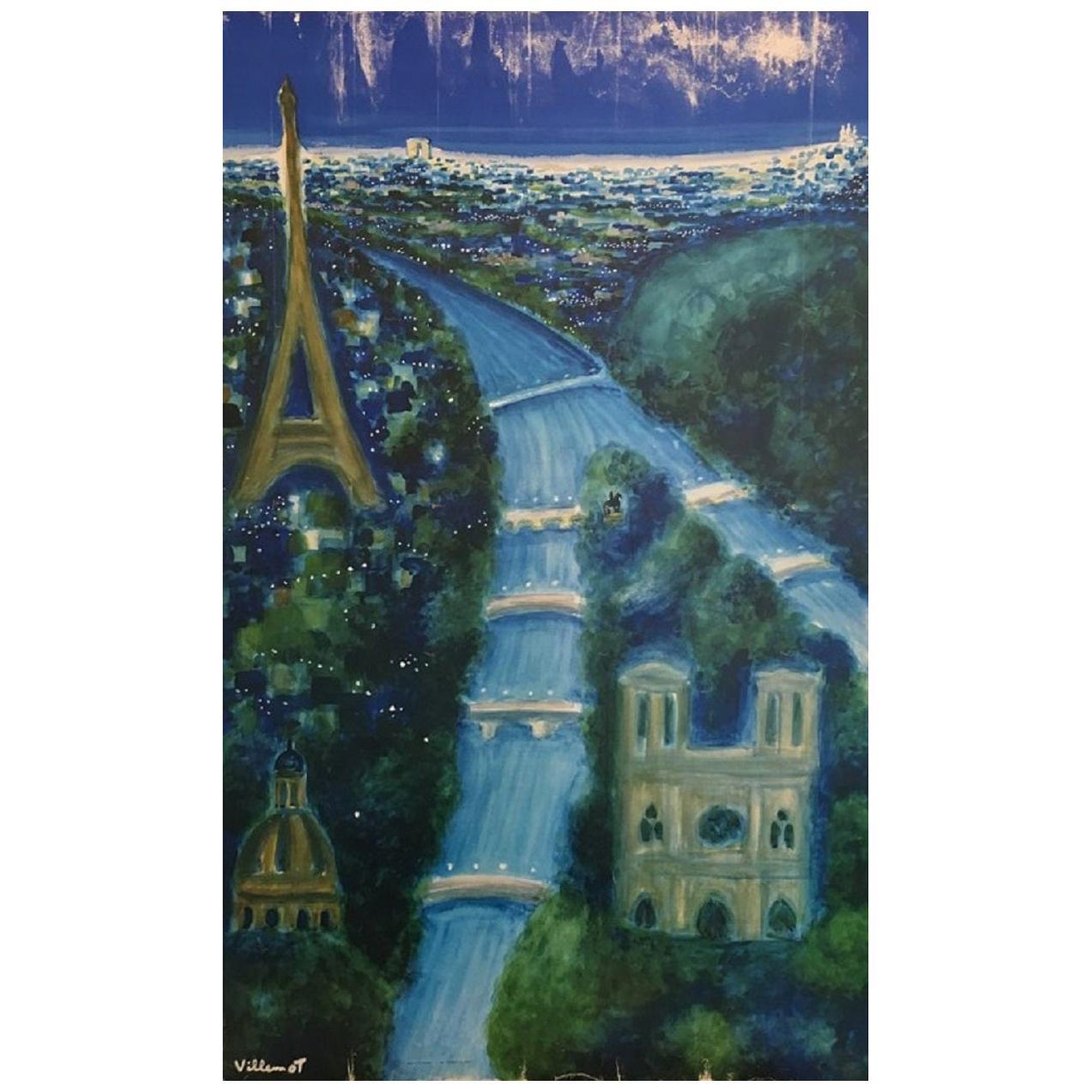 Villemot Paris at Night 'Air France' Original Vintage Poster