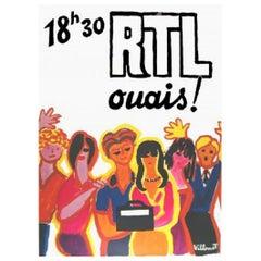 Villemot RTL Radio Station Original Vintage Poster