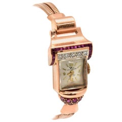 Villereuse Ladies Rose Gold Diamond Ruby Vintage manual Wristwatch