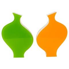 Villeroy & Boch 1990s Colorful Plexiglass Lucite Vase, a pair