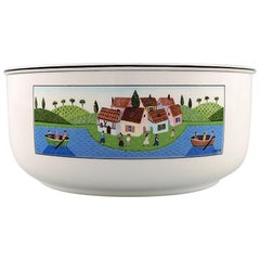 Villeroy & Boch Naif Bowl in Porcelain Decorated with Naivist Village Motif