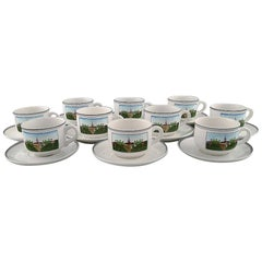 Villeroy & Boch Naif Coffee Service in Porcelain, Set of 10 Large Cups & Saucers